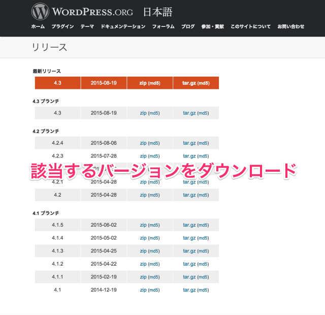 WordPress 過去バージョンを選ぶ