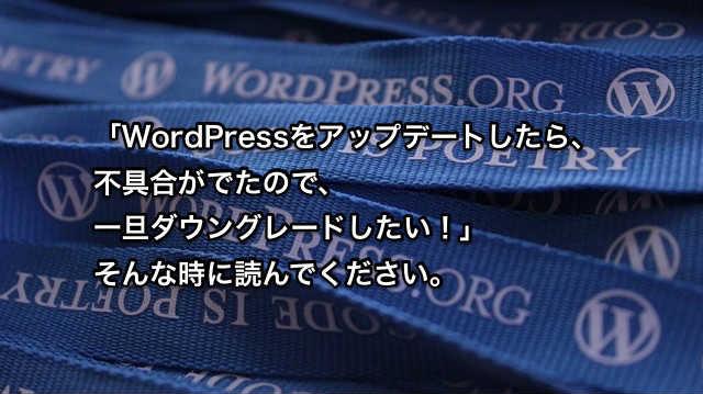 WordPress how to downgrade