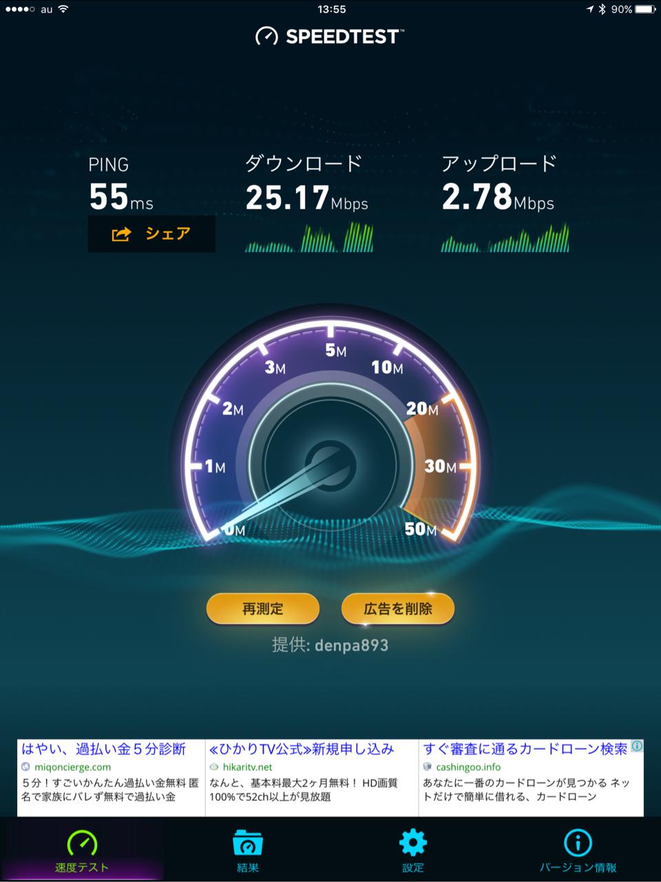 WiMAX2+のスピードテストの結果