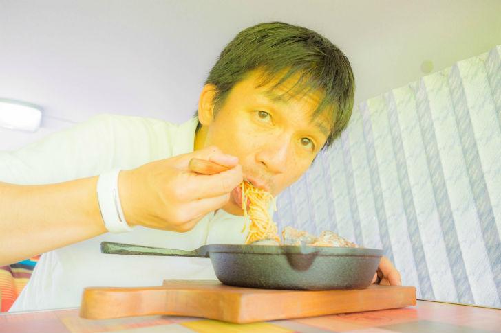 「トマトソースの鯖パスタ」うえせい試食