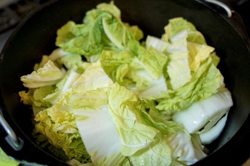 白菜を並べる