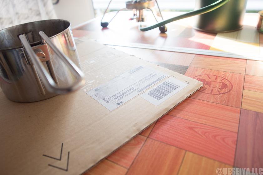 鍋敷きはAmazonの箱